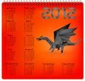 Un calendario da 2012 anni con il drago nero di origami. Fotografia Stock