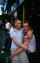 Un couple homosexuel dans Soho Photo stock