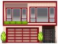 Un edificio con los marcos rojos Fotos de archivo libres de regalías