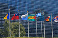 Un flags in front of united nations building in new york city colorful the world Royalty Free Stock Photos