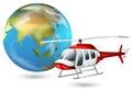 Un hélicoptère et un globe Photographie stock libre de droits