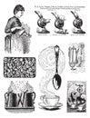 Un insieme di sette immagini del caffè di stile dell'annata Immagine Stock Libera da Diritti