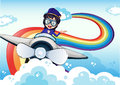 Un pilote féminin conduisant l avion et un arc en ciel dans le ciel Photos libres de droits