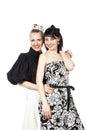 Un ritratto di due felici, ragazze di risata Fotografie Stock Libere da Diritti