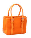 Un sac à main orange de dame de toile Photographie stock