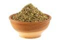 Un tazón de fuente de la hierba aromática secada: Mejorana dulce Fotografía de archivo libre de regalías