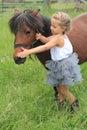 Una bambina graziosa con il suo cavallino Immagini Stock Libere da Diritti