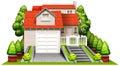 Una bella casa con le piante Fotografia Stock