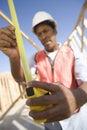 Una cinta de la medida de measuring framework with del arquitecto Fotografía de archivo