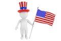 Unabhängigkeitstagkonzept kleine person d mit amerikanischer flagge und Stockfotos