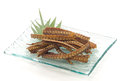 Unagi kobone age crispy fried eel bones with a few salt Stock Image