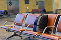 Unattended bag in the airport waiting area Royalty Free Stock Photography