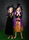 Unbelievable faces expressions and emotions in halloween costumes Royalty Free Stock Images