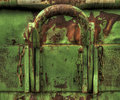 Unbreakable old rusty container with chains and reddish corroded texture Stock Photography