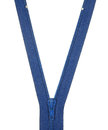 Unbuttoned blue zipper isolated on white background. Royalty Free Stock Photo