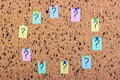 uncertainty or doubt concept, question mark on a sticky note on cork bulletin board Royalty Free Stock Photo