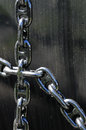 Unchain these shiny chains work as handrails on the staircase to the entrance of a submarine which is now a museum in horten Stock Photo
