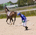 Unchancy start horse racing in pyatigorsk northern caucasus Stock Photos