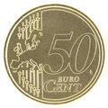 Uncirculated 50 Eurocent new map Stock Image