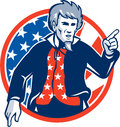 Uncle sam american pointing finger flag retro illustration of a at you set inside circle with stars and stripes viewed from front Royalty Free Stock Image