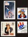Uncle sam on american postage stamps us depicting the famous character of Stock Photo