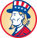 Uncle sam american side illustration of wearing hat with stars and stripes flag viewed from set inside circle Royalty Free Stock Photography