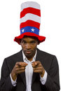 Uncle sam black man playing as american mascot Royalty Free Stock Image