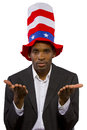 Uncle sam black man playing as american mascot Stock Photography