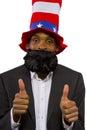 Uncle sam black man playing as american mascot Royalty Free Stock Photo