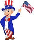 Uncle sam cartoon holding american flag illustration of Stock Images