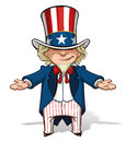 Uncle sam debating clean cut overview cartoon illustration of with his hands open Royalty Free Stock Images