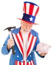 Uncle Sam Desperate for Cash Stock Image