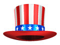 Uncle sam hat creative abstract usa traditional symbol and us flag color concept with red stripes and blue stars isolated on white Stock Images