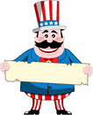 Uncle sam holding a sign cartoon smiling and strip of blank old sheet isolated on white background eps file is available you can Stock Images