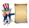 Uncle sam i want you declaration vector cartoon illustration of holding a like papyrus and pointing like tha classic wwi poster Royalty Free Stock Image