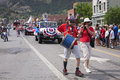 Uncle sam marches in july independence day parade ouray colorado Royalty Free Stock Photo