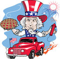 Uncle sam parade in vintage truck with cherry pie and fireworks Stock Images