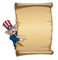 Uncle sam pointing at declaration vector cartoon illustration of a like papyrus Royalty Free Stock Images