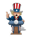 Uncle sam presidential podium intence vector cartoon illustration of on the giving a speech with expression Royalty Free Stock Photos