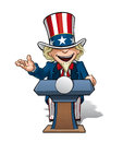 Uncle sam presidential podium open vector cartoon illustration of on the giving a speech with an expression Stock Photo