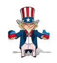 Uncle sam republican n democratic vector cartoon illustration of holding mockups of the party donkey and the party elephant Royalty Free Stock Image