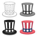 Uncle Sam`s hat icon in cartoon style isolated on white background. Patriot day symbol stock vector illustration.