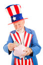 Uncle Sam Saving Money Royalty Free Stock Photo