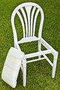Uncomplete White Chair with Pad Stock Photo