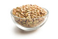 Uncooked buckwheat in glass bowl Stock Photo