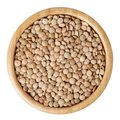 Uncooked lentils in wooden bowl isolated on white Royalty Free Stock Photo