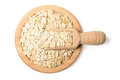 Uncooked oatmeal in the plate top view Stock Photography