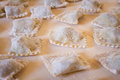 Uncooked ravioli pasta close up shot of homemade Royalty Free Stock Images