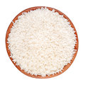 Uncooked rice wooden bowl isolated white background Royalty Free Stock Image