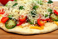 Uncooked Vegtable Pizza For One Royalty Free Stock Photo